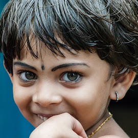 Innocence by Vishahan Iyer - Babies & Children Children Candids ( child, candid, shy, smile )