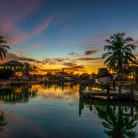 Marco Island FL Sunset over the Canal by Ted Urquhart - City,  Street & Park  City Parks ( sunset, marco island )
