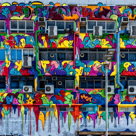 Runny colors by Robert Namer - City,  Street & Park  Neighborhoods ( cityscapes, tags, streetphotography, colorful, street, street art, cityscape, architecture, colours, city, street photography, graffiti, buildings, painting, street scenes )