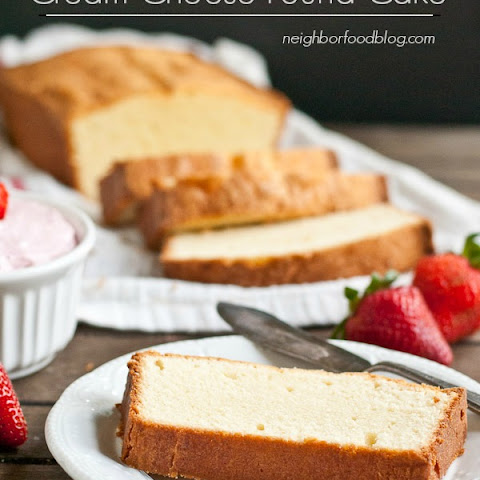 Mom's Cream Cheese Pound Cake with Whipped Strawberry Cream Cheese