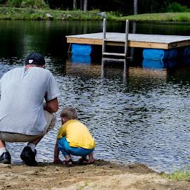 Father & Son Bonding by Melissa Culp - People Family ( water, summertime, bondingtime, fatherandson, pond )