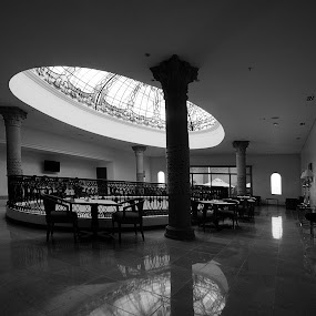Hotel by Cristobal Garciaferro Rubio - Buildings & Architecture Other Interior ( relfection, hall glass, presidente hall, hotel, black and white, interior, building, monotone )
