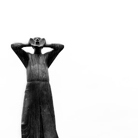 The Shout by Andrei Ciuta - Black & White Abstract ( statue, monochrome, negative space, black and white, germany, travel, emotion )
