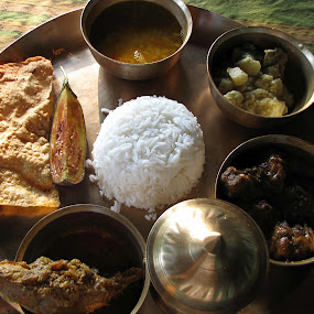 Bengali foods... by Avijit Basak - Food & Drink Plated Food ( bringle, rice, prawn, potato, mutton )