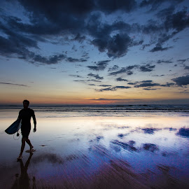 Last One Out by Dale Rogers - Landscapes Beaches ( surfer, sunset, australia, beach, surf )