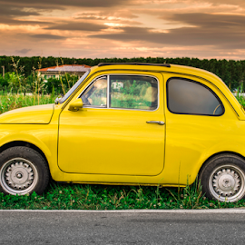 Small vintage italian car Fiat Abarth by Deyan Georgiev - Transportation Automobiles ( car, old, italian, automobile, chrome, street, vehicle, retro, little, fiat, show, yellow, sixties, historic, abarth, ancient, style, tuned, motor, cars, 60s, tuning, italy, classic, mini, fifties, vintage, engine, economy, funny, sport, fashioned, seventies, 500, rally, european, auto, revival, small, design )