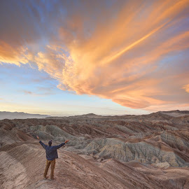Self Portrait in the Borrego Badlands by Cliff LaPlant - Landscapes Deserts ( mountain, america, bright, sandstone, rock, beauty, landscape, usa, hiking, sun, adventure, sky, nature, anza-borrego, camping, grand, borrego desert, alone, evening, light, clouds, sand, wild, desert, afternoon, california, open space, discover, canyon, borrego, scenic, morning, dusk, united states, united states of america, climbing, sunburst, national park, dawn, environment, open spaces, color, sunset, outdoors, sunrise, scenery, badlands, outside, cactus )