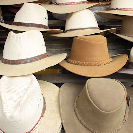 Hats at the Market by Robert Hamm - Artistic Objects Clothing & Accessories ( abstract, otavalo, craft, cowboy hat, market, ecuador, color, texture, outdoor, leather hat, shape, material, hat,  )