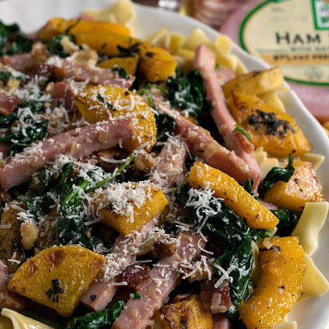 Smoked Ham with Butternut Squash Over Noodles