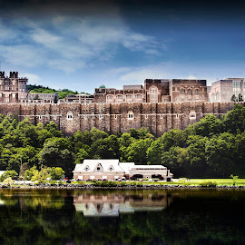 West Point Academy  by Sandra Hilton Wagner - Buildings & Architecture Other Exteriors ( water, buildings, stone, architecture, landscape, river )