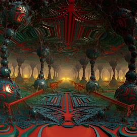 Railing Underground by Rick Eskridge - Illustration Sci Fi & Fantasy ( railing, fantasy, mb3d, fractal, twisted brush )