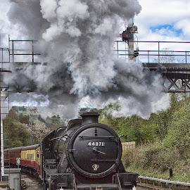 Smokin it up by Dez Green - Transportation Trains ( railway, steam train, train, relic, historic, steam,  )