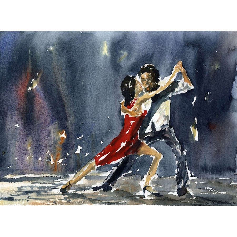 Tango dance painting art original watercolour