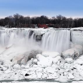 Landscape waterfalls in winter... by Fabrizio Contadini - Landscapes Waterscapes ( water, waterfalls, white, landscape, lights, sky, winter, nature, blue, ice, snow, falls, sunrise, rocks )