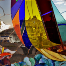 Stained-glass and old Quebec city by Réal Michaud - Artistic Objects Glass ( transparency, coloured, boat-sailing, old quebec, stained glass )