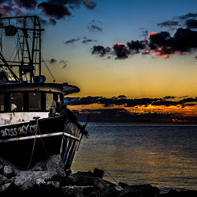 Waiting on Night to Fall by Victoria Evans - Landscapes Waterscapes ( sunset, shrimp boat, louisiana, buras, gulf of mexico, commercial fisherman, boat )