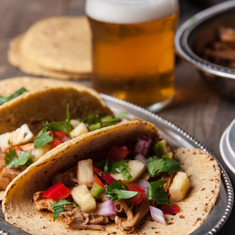 Chili Beer Chicken Tacos with Pineapple Salsa