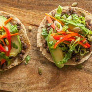 Black Bean Tostadas with Pickled Veggies