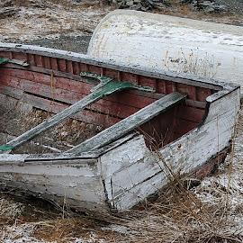 Of A Time Gone By by Harold Bradley - Digital Art Things ( old, boats, derelict, historical, dorries, well used, oar locks, oars, fishing boat )