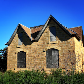 Country Home by Robert D Brozek - Buildings & Architecture Homes ( roof, limestone, roofbrown, sky, blue, green, windows, house, kansas )