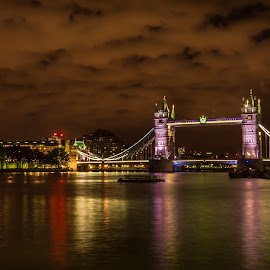 the TOWER BRIDGE by Balan Gratian - City,  Street & Park  Night ( towers, london, london night, tower bridge, london landscape )