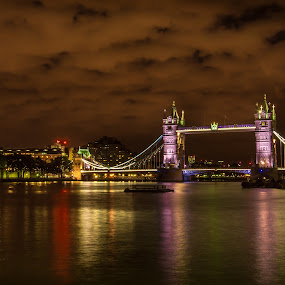 the TOWER BRIDGE by Balan Gratian - City,  Street & Park  Night ( towers, london, london night, tower bridge, london landscape )