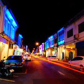 Phuket Old Town by Max Liew - City,  Street & Park  Street Scenes ( portuguese style, phuket town, night streets view, light tail, thalang road,  )