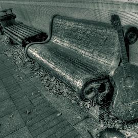 bench by Danas Meskauskas - City,  Street & Park  City Parks ( park, bench, street, leaves )