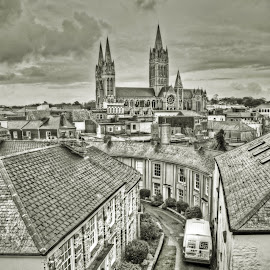 Looking towards God's House. by Mitch Featherbe - City,  Street & Park  Street Scenes ( building, black and white, street, cathedral )