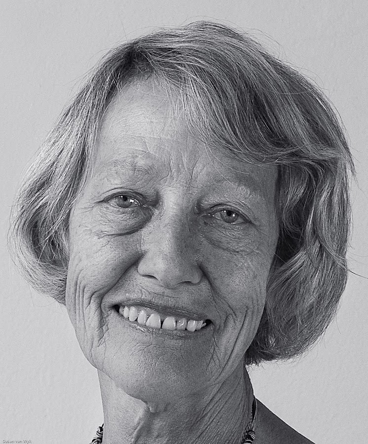 Portrait of a Lady by Susan Van Wyk - Black & White Portraits & People ( face, white, black, portrait, smile )