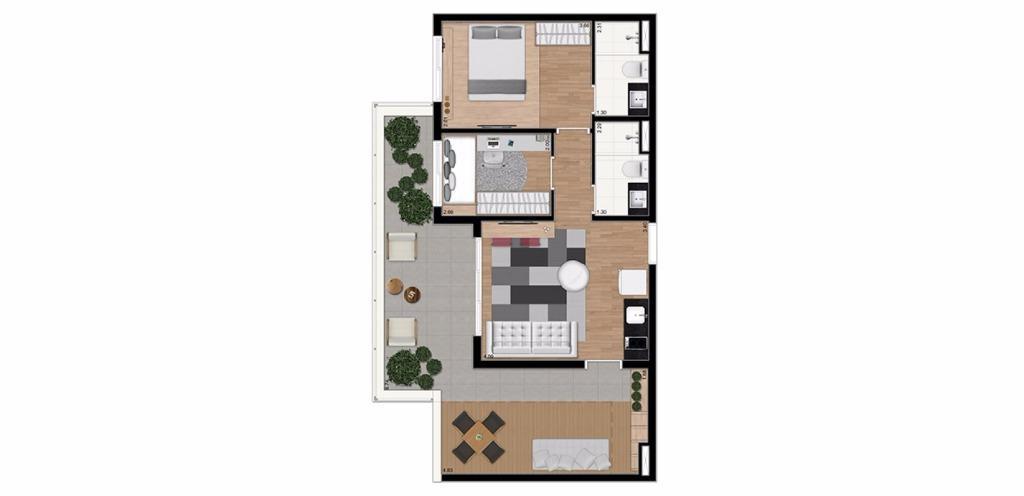 Planta PentHouse  73 m²