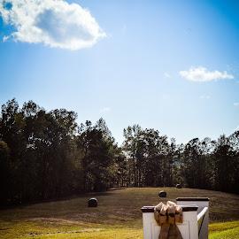 by Lisa Frisby - Wedding Ceremony ( wedding photography, bench, pumpkin, wedding, landscape )