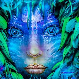 Dreamy by Lynnie Taylor - Illustration Sci Fi & Fantasy ( blue, mysterious, eyes )