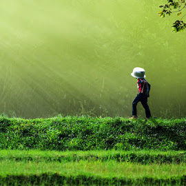 Childhood by Harith Sankalpa - Babies & Children Children Candids ( nature, green, children, fun, morning, sunlight, photography, rural )