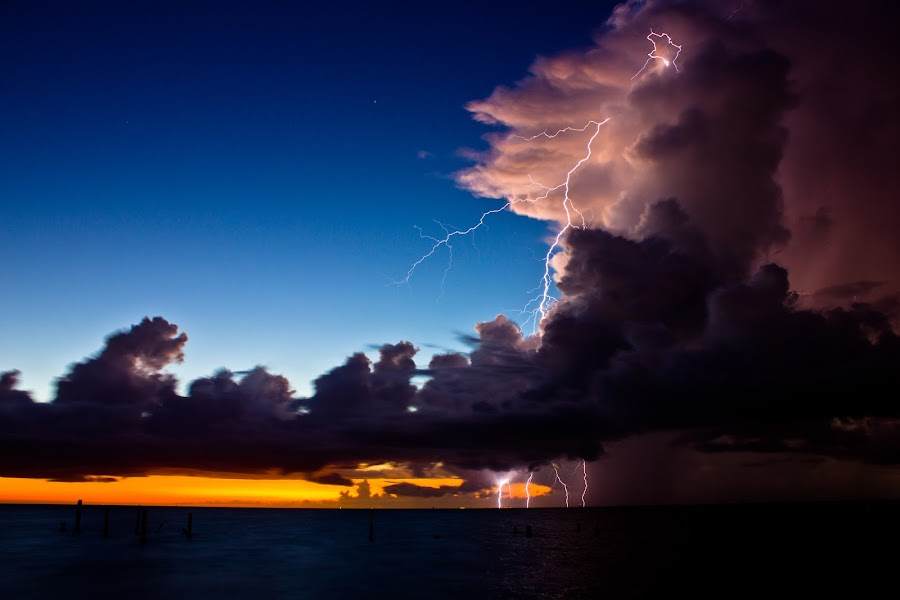 Electric sunrise by Guppy Man - Landscapes Weather ( lightning, cloud, sunrise, storm, morning, light )