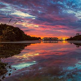 by Gordon Koh - Landscapes Sunsets & Sunrises ( sunrise, reflection, halus, natural light, punggol, river, clouds, lake, epic sunrise, movement, park )