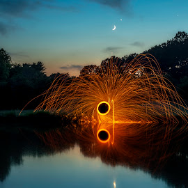 The Moon, Venus, and Jupiter by Nick Neben - Abstract Fire & Fireworks ( reflection, moon, steel wool, sunset, jupiter, lake, sparks, nikon, venus )