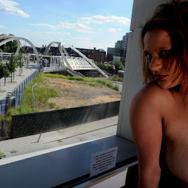 Miss V in Wembley by DJ Cockburn - Nudes & Boudoir Artistic Nude ( off camera flash, white sheer, woman, mixed race, art nude, home shoot, model, portrait, miss v )