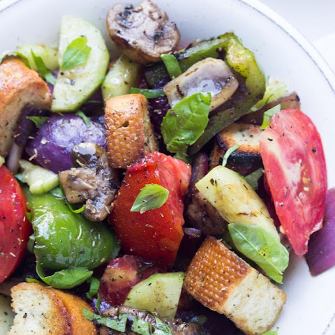 Grilled Vegetable Salad with Heirloom Tomatoes and Grilled Croutons