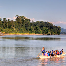 Rowing by Ernie Kasper - Sports & Fitness Watersports ( water, paddles, canada, rowing, sport, langley, candid, boat, people, nature, scenery, life jackets, fraser, river )