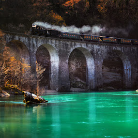Steam train by Cvetka Zavernik - Transportation Trains ( nature, color, train, bridge, river,  )