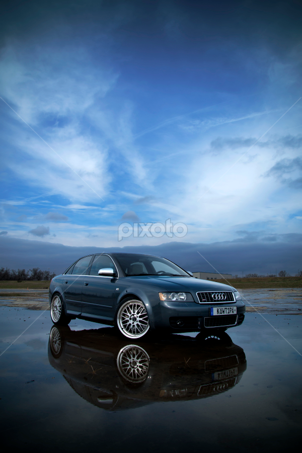 Audi S4 - Blue by Karen Santilli - Transportation Automobiles ( car, audi, blue, automobile, vehicle, wheels, dolphin gray, s4 )