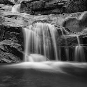 Waterfalling by Alessandra Antonini - Black & White Landscapes ( water, waterfalls, falls, landscape, rocks, river )