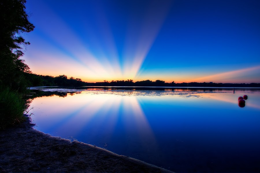Sunrays by Alex Fraser - Landscapes Waterscapes ( water, sand, minnesota, color, sunset, lake, beach, light, rays )