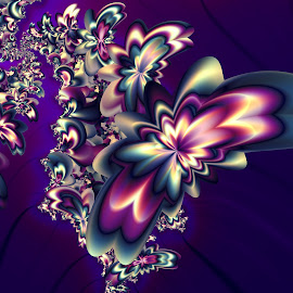 Butterflies swarm by Cassy 67 - Illustration Abstract & Patterns ( butterfly, wallpaper, digital art, flowers, fractal, digital, fractals, flower )