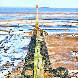 River Humber by Dave Smith - Digital Art Places ( sand, river humber, seasdie, beach, cleethorpes )