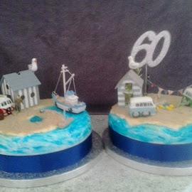 60th Birthday Cake by Sue Wright - Food & Drink Cooking & Baking ( cake, birthday, anniversary, 60th, scene, celebration, beach )