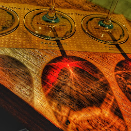 Fine Shadows by Dustin VanHoose - Food & Drink Alcohol & Drinks ( shadow, sunset, restaurant, wineglass, wine,  )