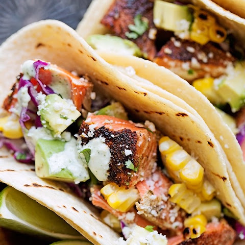 Blackened Salmon Tacos with Jalapeño Lime Crema