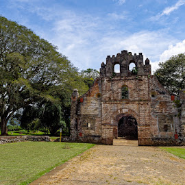 by Johannes Oehl - Buildings & Architecture Public & Historical ( natural light, cartago, old, cirrus cloud, lawn, america, ruin, earthquake, architecture, ecotourism, chapel, landscape, responsible tourism, creative image, historic, sustainable tourism, daytime, midday, ancient, tree, color image, culture and the arts, general view, ground level view, cultural tourism, costa rica, central america, architecture-photography, tourism facility, one object, scenic, geotourism, orosi valley, ujarrás, history, cumulus cloud )